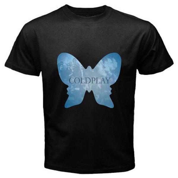 COLDPLAY Alternativa Rock Band Borboleta Preto T-Shirt Tamanho S M L XL 2XL 3XL
