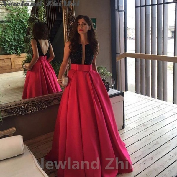 Rose Red Prom Dresses Stunning Black Crystal Long A Line V Back Stain Party Evening Gowns 2018