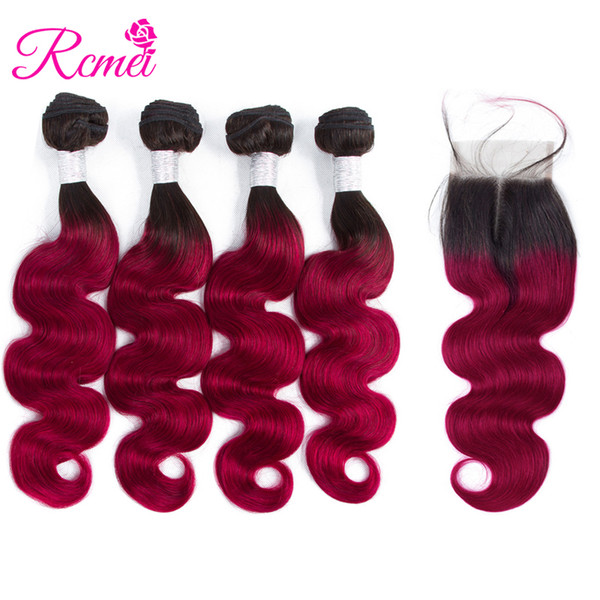 Rcmei Hot Selling Burgundy Colored Hair Brazilian Body Wave Bundles With Closure Ombre 1b/Burgundy 2 Tone Color 4 Bundle With Lace Closure