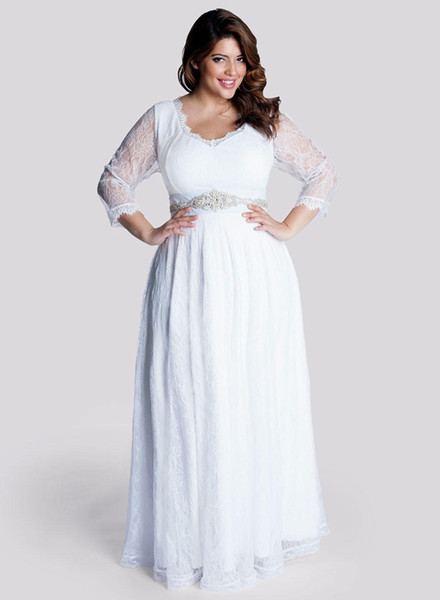 Beads Crystal Sash Transparent Lace Plus Size Pregnant Women Three Quarter Sleeve Modest Wedding Dresses Baby Shower Bridal Gowns
