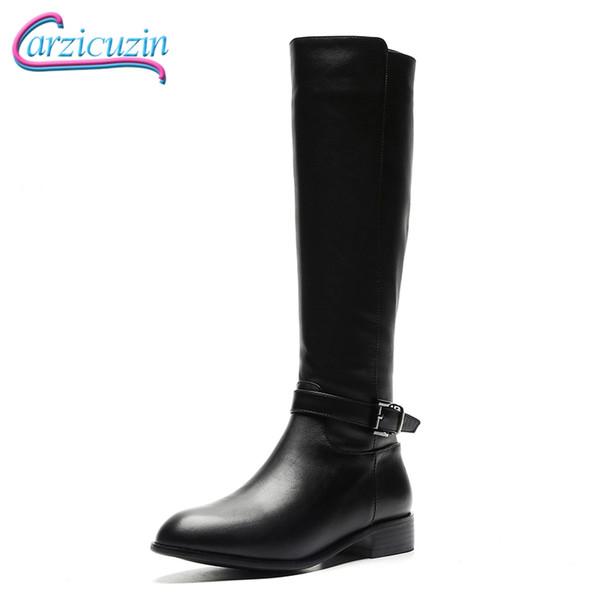 Compre Botas Zapatos Invierno Mujeres Carzicuzin Pisos De Piel HDIE9W2
