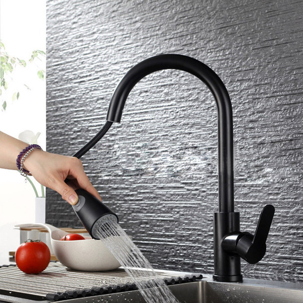 Black Kitchen Faucet 304SUS Kitchen Sink Faucet Pull Out 360 Rotation Faucet for Kitchen Tap Mixer Deck Mounted Water Taps