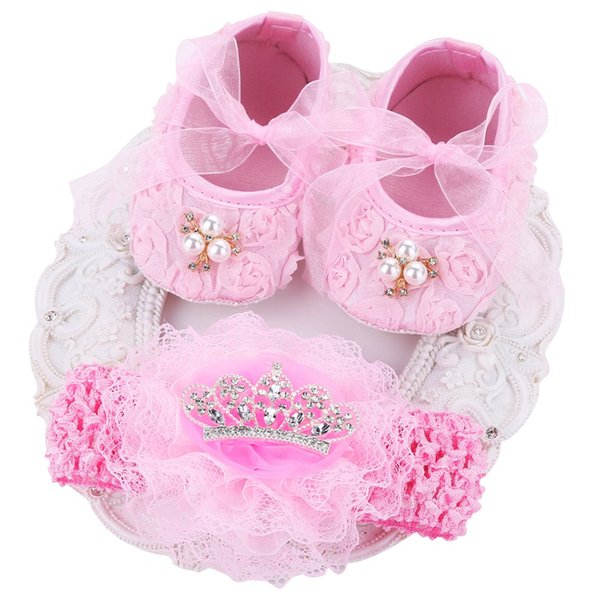Pink Ballerina Kids Booties Shoes Baby Girl Headbands Set,Soft Soled Vintage Crib Girls First Walker,Sapatinhos De s Meninos