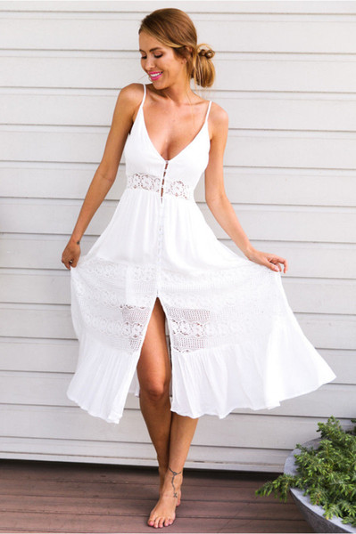 Women Summer Boho Long Dress Casual Party Beach Dress Sundress Strap White Lace bohemian beach dress
