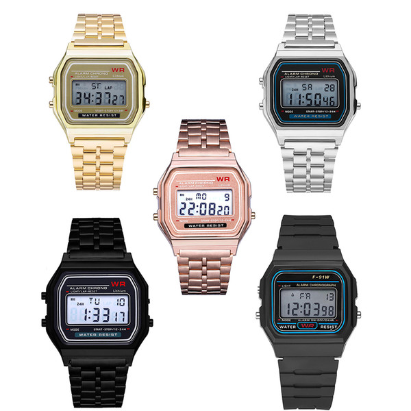 top popular Digital Retro F-91W watches Fashion Ultra-thin LED Wrist Watches F91W Gold Rose-Gold Silver Men Women Sport Watches Free Shipping 2020