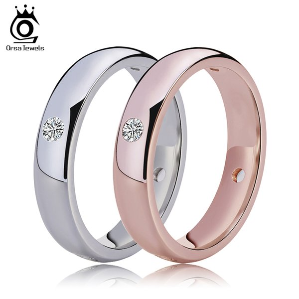 best selling ORSA JEWELS Rose Gold Color&Silver Color Wedding Bands with 4 Pieces Clear CZ Bezel Setting Lover's Ring Wholesale Rings OR61