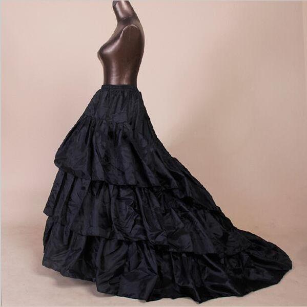 2019 Barato Negro Blanco nupcial una línea de vestido de fiesta enagua Crinolina con vestido de boda de tren de la corte Underskirt