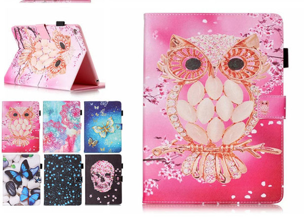 Color Mix Butterfly owl PU Leather Stand Wallet Flip Card Slots Covers Case for Samsung Galaxy Tab T280 T230 T380 T550 T560 T580