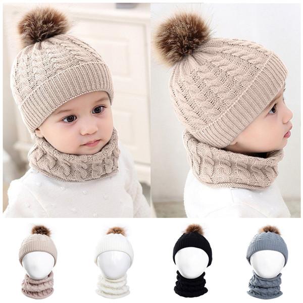 Children Kids Wool Yarn Knitted Hat Scarf Set Baby Girls Faux Raccoon Fur Ball Caps Warm Beanies Neckerchief For Winter
