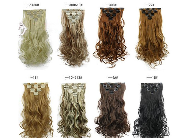 crurly Blond Black Brown gold Straight Clip Brazilian Remy Human hair 16 Clips in/on Human Hair Extension 7pcs set Full Head FZP8