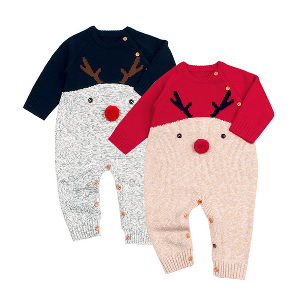 Free Shipping Christmas Deer Toddler Boys Girls Baby Knitted Romper Jumpsuit Outfits Clothes For 0-24 Months Babies Clothes #YL
