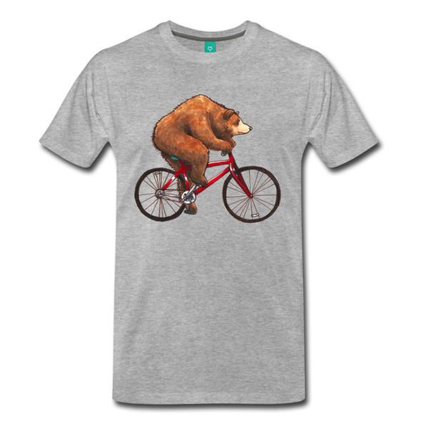 Забавные животные езда на велосипеде медведь мужская футболка 2017 Новый 100% хлопок футболки мужчины футболки повседневная Марка одежда хлопок аниме