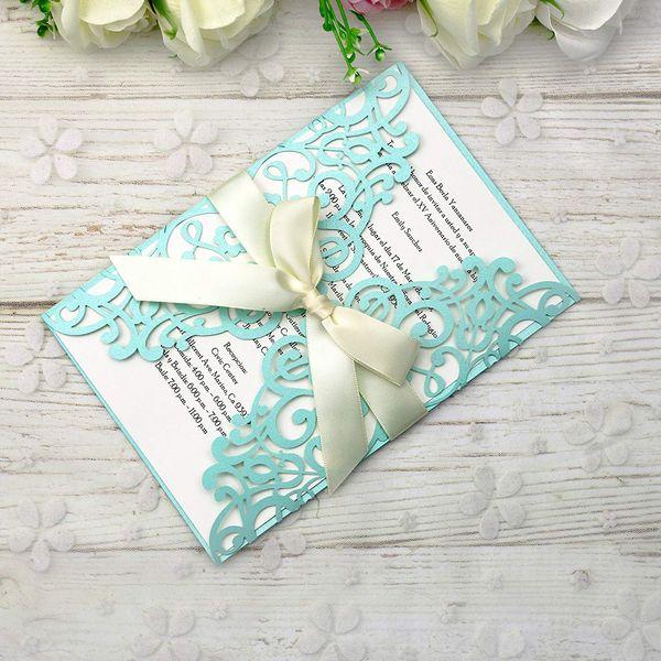 Compre Envío Gratis Fit 5 7 Tarjetas De Invitación Azul Tifny Con Cinta Para Boda Nupcial Despedida De Soltera Cumpleaños Graduación Fiesta De