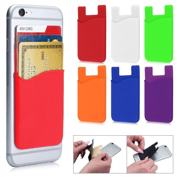 Phone Silicone Wallet Credit Card Cash Pocket Sticker Adhesive Holder Pouch For Smart Phones