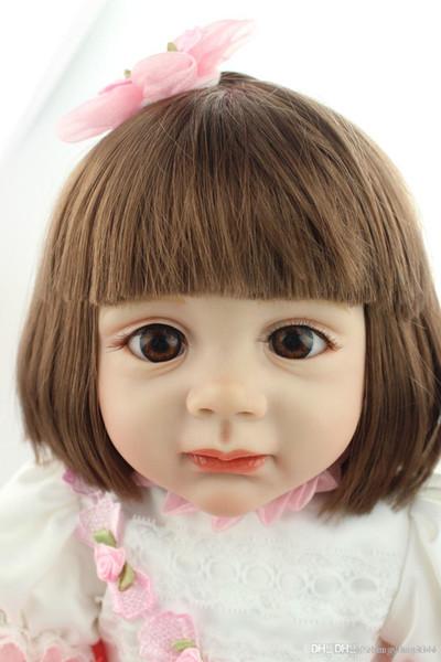 2015 NUEVO diseño de silicona suave renacer muñeca bebé arraigado pelo humano moda muñeca regalo de Navidad