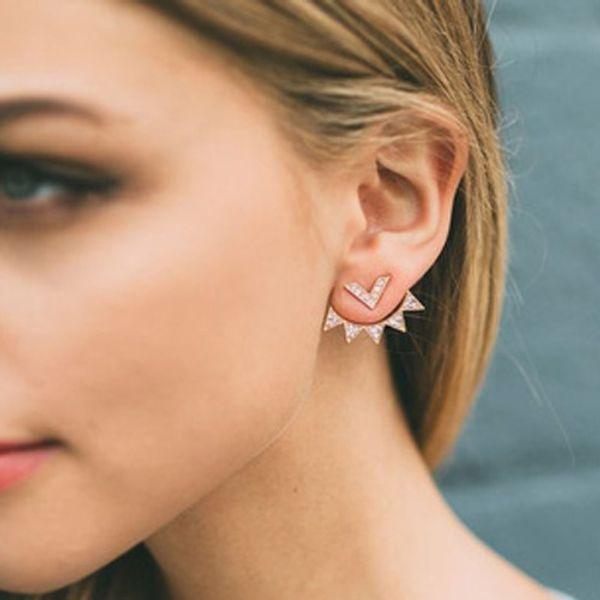 Trendy CZ Curved Geometric earrings Ear Jacket for Women Elegant Front Back Two Sides Earrings fashion Jewelry 5247