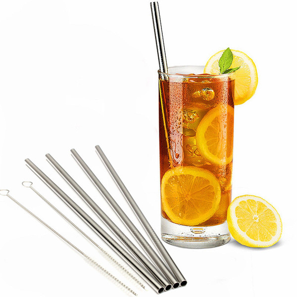 best selling 10.5 9.5 8.5 Inch Straight and Bend Stainless Steel Straw and Cleaning Brush Reusable Drinking Straw Bar Drinking Tool