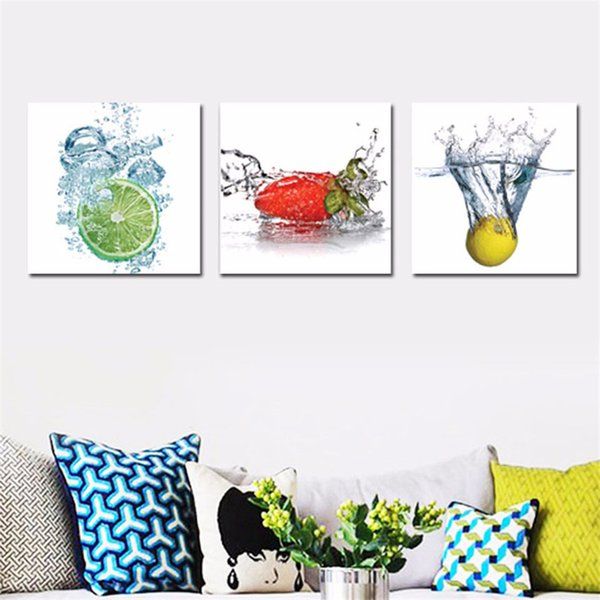 Wall Art Modular Poster Framework Pictures 3 Panel Water Fruit HD Printed Modern Canvas Painting Home Decoration Living Room