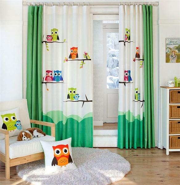 Großhandel Pastorale Cartoon Eule Kinderzimmer Vorhang Fenster Vorhang Für  Wohnzimmer Baby Vorhänge Dekoration Cortina Tür Vorhänge Gardinen Von ...