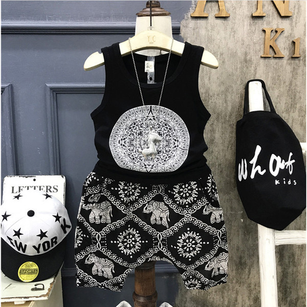 2018 Kids Children's Set Summer Fashion Korean Style Boys Vest and Shorts Two Piece Sportswear Boy Print Sets