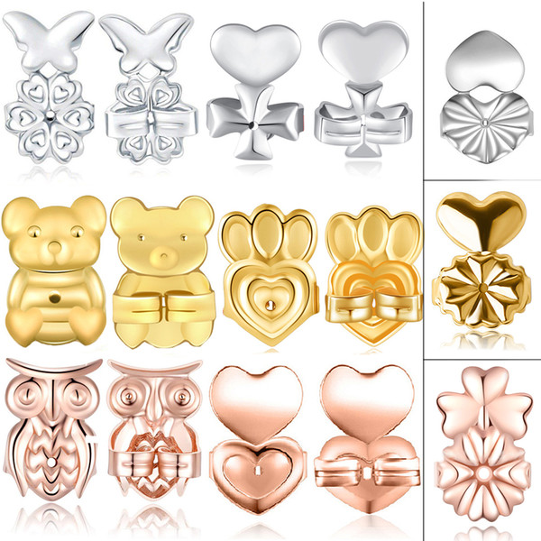 3 Pairs Magic Bax Bear Earring Backs Heart Lifters Firmly Supports Lifts Hypoallergenic Butterfly Owl Crown Cross Plated Silver Gold Color