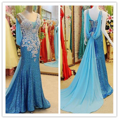 Real Picture Blue Sequined Formal Dresses Evening V Neck Crystal Long African Party Prom Gown Red Carpet Pageant Celebrity Wear Vestido 2018