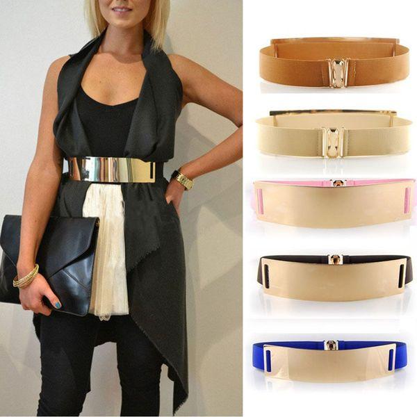 Elastic Mirror Golden Metal Waist Belt Metallic Bling Plate Wide Band For Women Ladies Accessories H4H06