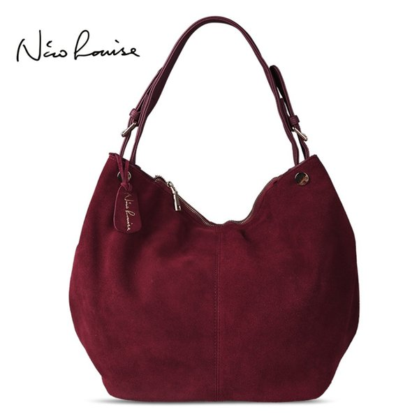Nico Louise Women Real Split Suede Leather Hobo Bag New Design Female Leisure Large Shoulder Bags Shopping Casual Handbag Sac D18100801