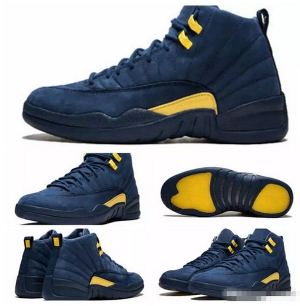 2018 New High Quality 12 12s Michigan Basketball Shoes For Men Dark Blue Yellow Suede Mens Sneakers Sports Athletic Trainers Size 7-13