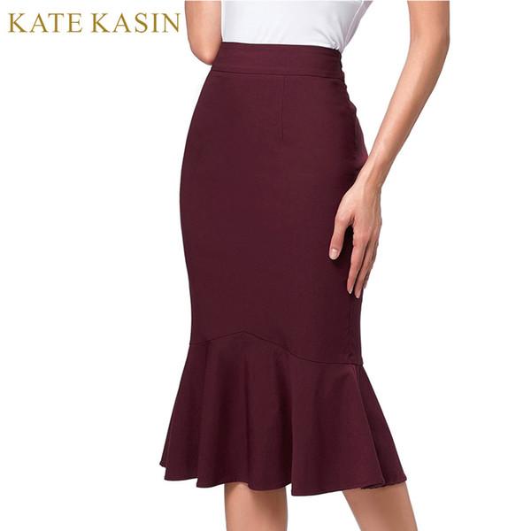 Kate Kasin venta caliente de la oficina Ladies elegante bodycon sirena falda 2017 nueva mujer elástica de cintura alta Ruffles trompeta dobladillo faldas