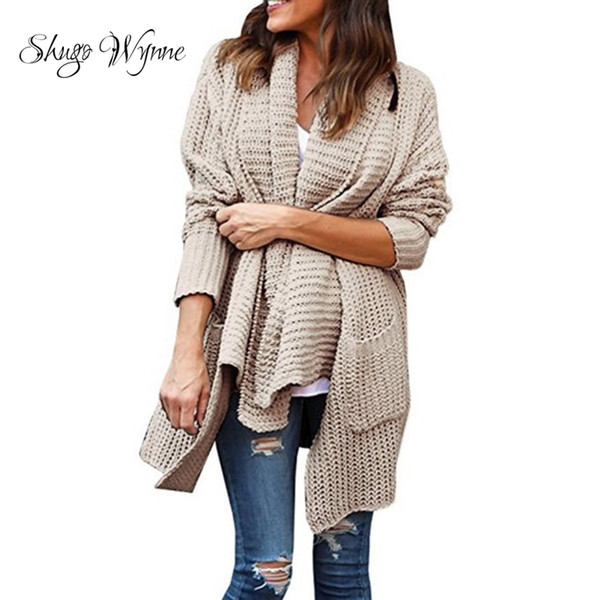 shugo wynne 2018 autumn winter new women fashion knit sweaters loose dual pocket irregular turndown collar sweater cardigan