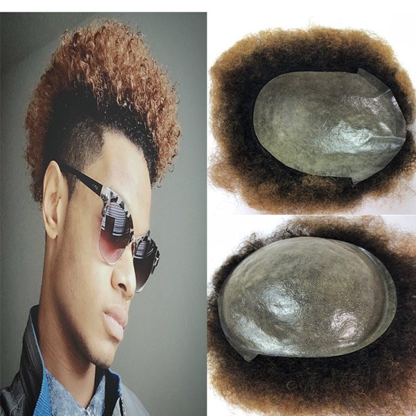 Blonde Afro Curly Mens Toupee Thin Skin Afro Toupee for Black Men Two Tone Full Pu Curly Wigs Human Hair Hairpieces Replacement Systems