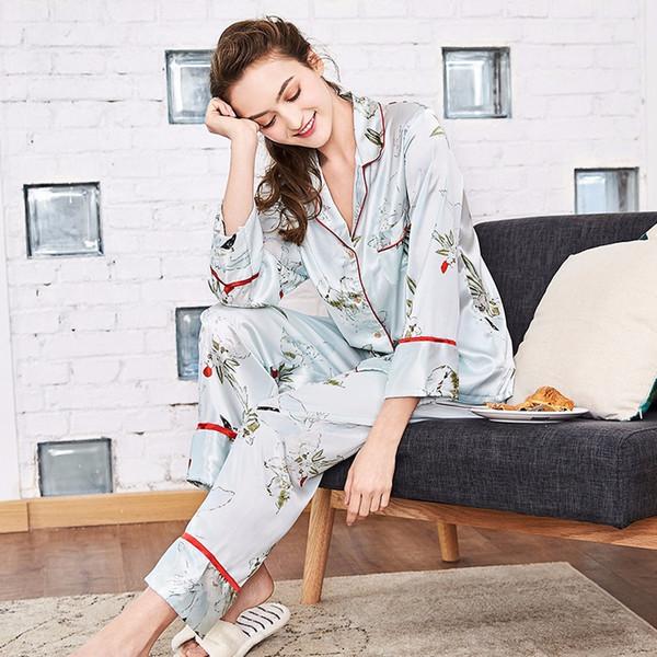 İpek pijama iplik kadın bahar uzun kollu pantolon ev hizmeti iki parça suit7