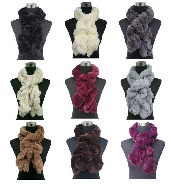 Fashion Plain Solid Color Faux Fur Women's Scarf Neck Warmer Wrap, Free Shipping