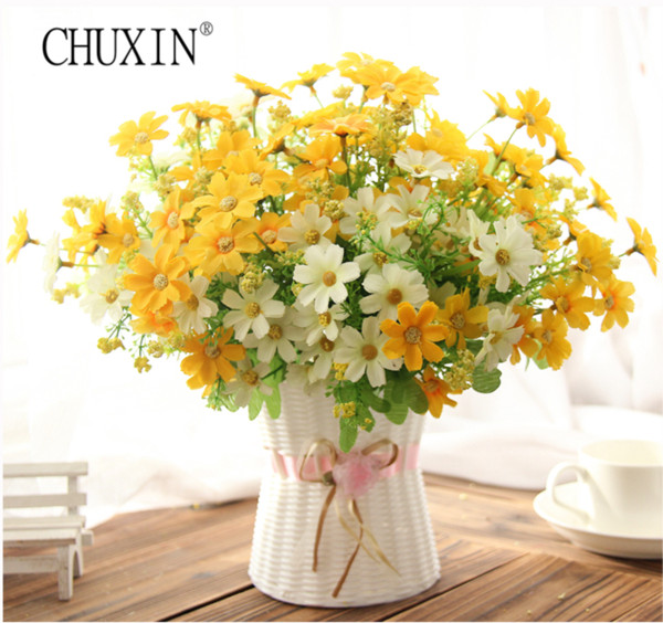 Samll Daisy Artificial Flower Silk Sunflower With Rattan Vase Decoration For Home Room Table 13 Type