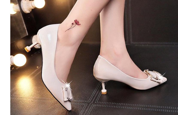 Free send 2018 autumn new style women's shoes with Fine heel pointed end high heel