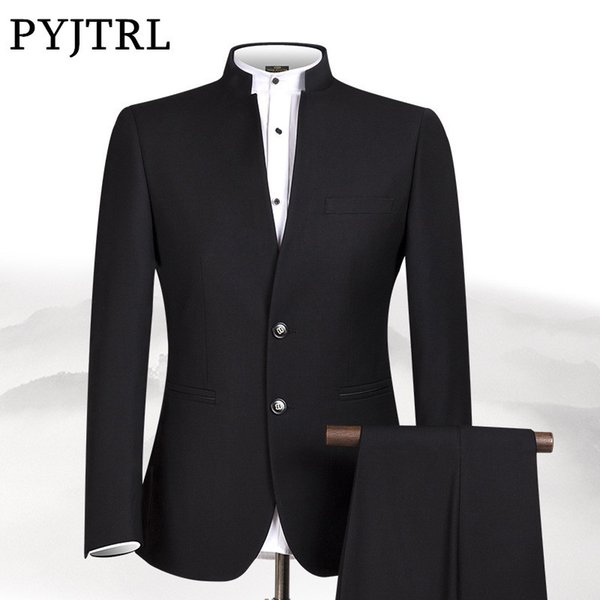 PYJTRL New S-4XL Men Chinese Tunic Collar Bridegroom Suit Formal Wear Dress Slim Fit Mens Suits Groom Wedding Blazer Pants Homme S18101903