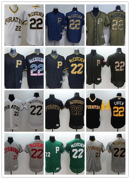 Erkekler kadınlar gençlik Pittsburgh özel Korsanlar Jersey # 22 McCutchen Siyah Sarı Gri Beyaz Beyzbol Formalar