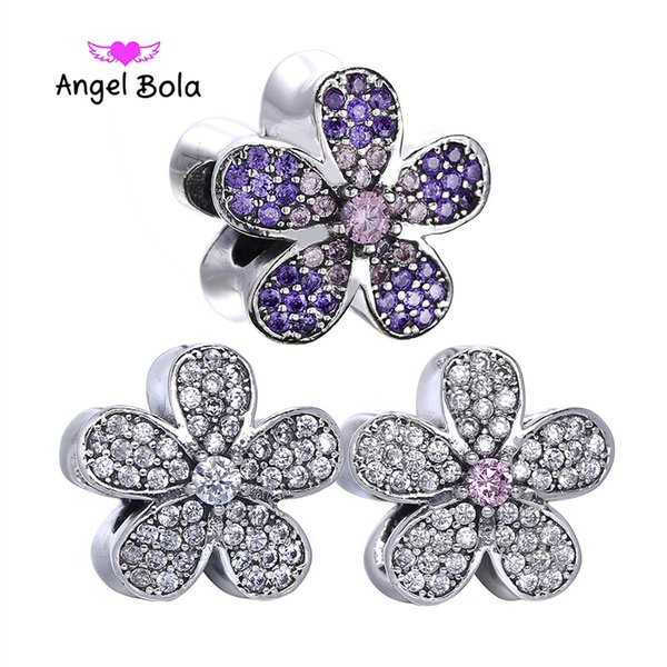 Authentic 925 Sterling Silver Bead Charm 3 colors Stone inlay Cherry Blossom Clip Stopper Beads Fit Pandora Bracelet DIY Jewelry