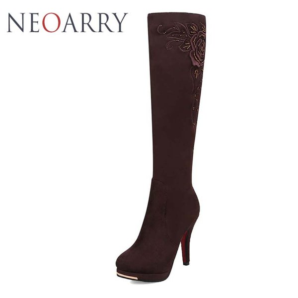 Neoarry Sexy Knee High Boots Women's High Heels Shoes Embroider String Beading Boots Fashion Round Toe Botas Mujer Femininos T25