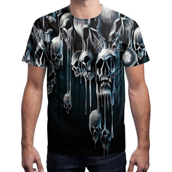 T shirt uomo 2018 Fashion Skull Tees 3D stampato T-Shirt da uomo a maniche corte tondo girocollo Tops B121-076