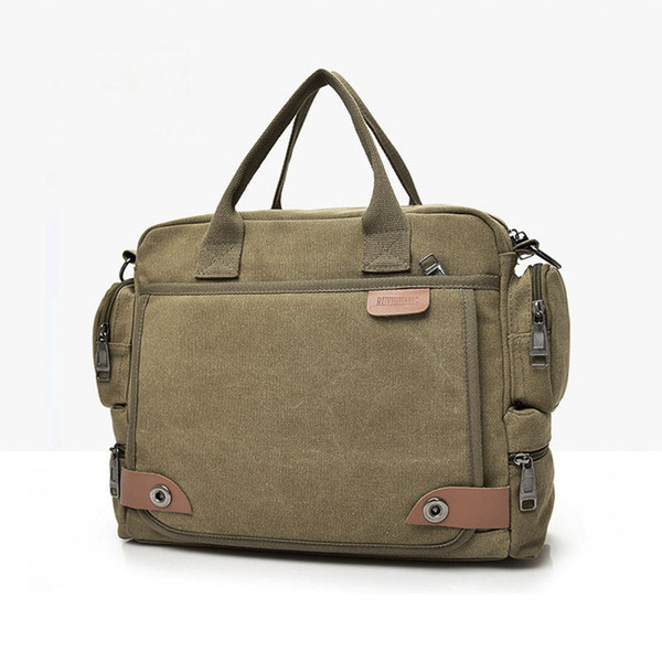 Canvas Men Casual Briefcase Business Shoulder Bag Men Messenger Bag Vintage Style Travel Handbag Bag Portfolio