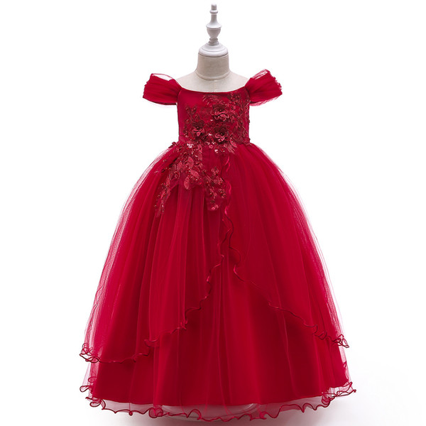 bébé fille robes Pétales Appliques enfants vêtements griffés filles Princesse Robes Dentelle Fée Fleur Robes De Mariée Danse Costume De Performance