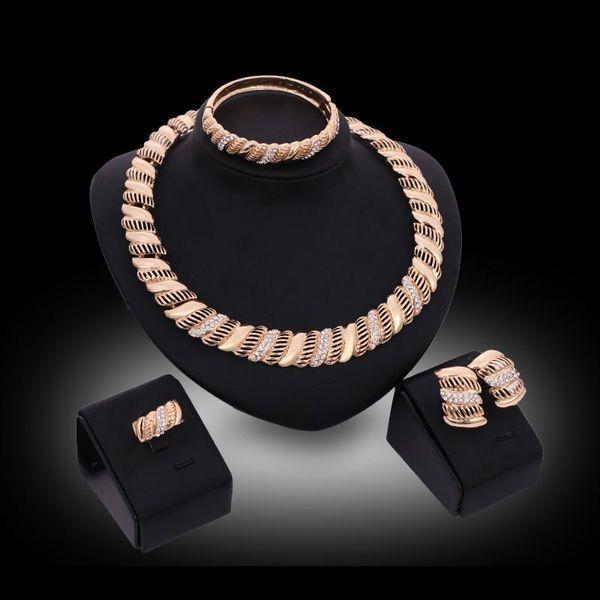 jewelry set 2016 Fashion Luxury Rhinestone Party Jewelry Sets Women 18K Gold Plated Necklace Bangle Earrings Ring Jewelry 4-piece Set JS088