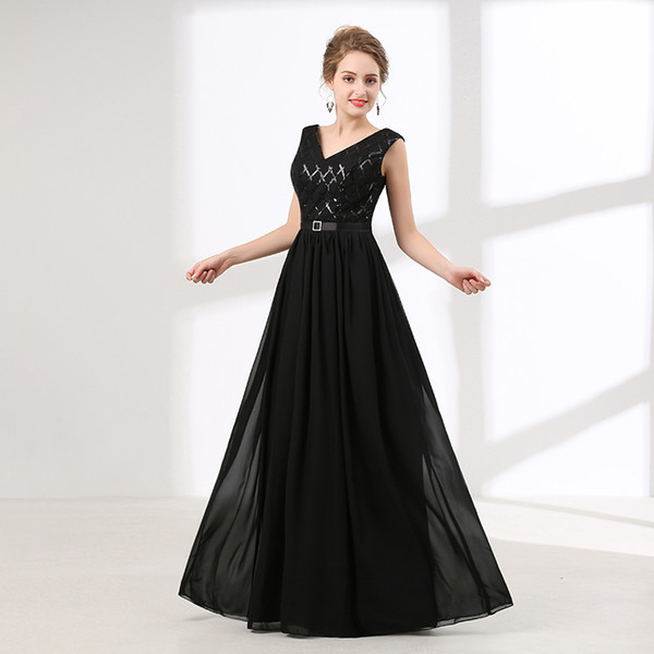 Cheap long evening dresses black sequin fashion woman dresses 2018 new collection prom party evening gown