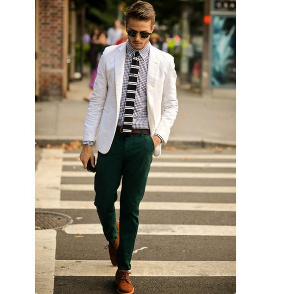 Latest Coat Pant Designs White Linen Suits For Men Casual Custom Beach Summer Style Blazer Slim Fit 2 Pieces Jacket Men...0123