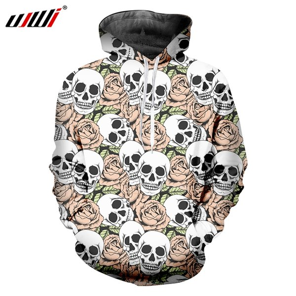 UJWI Red Rose Men's Hoodies 3D Printed A Pile Of Skulls Medium And Long Section Large Size Leisure Man 6XL Pullover