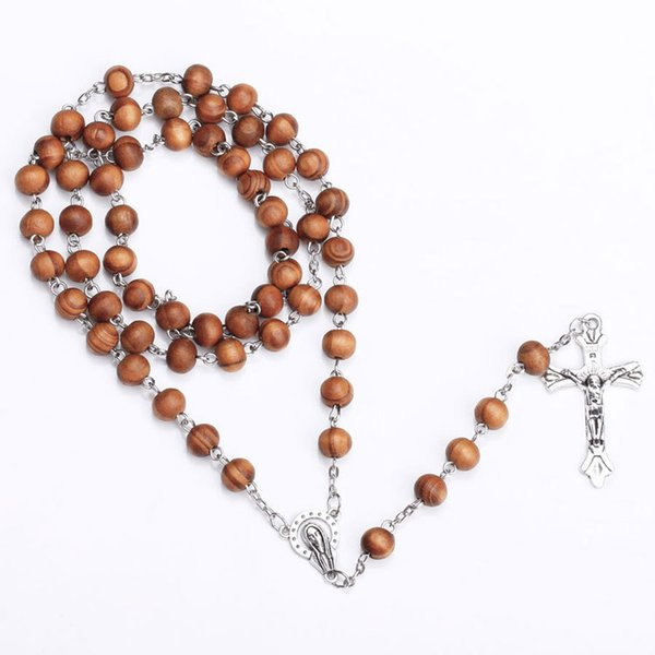 Fashion Wooden Rosary Necklace With Cross Jesus Pendant Necklace Fashion Wood Beads Catholic Christian Crucifix Jewelry Gift