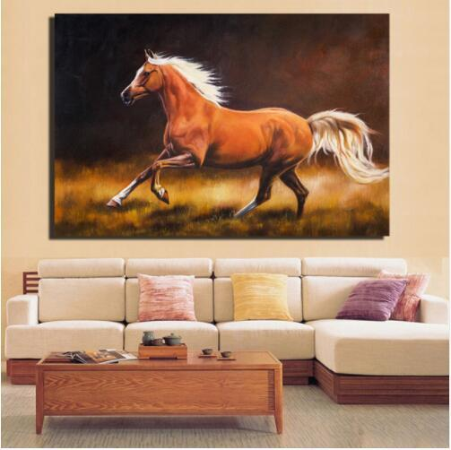 Cavallo Canvas Paintings Impressionista Galloping Brown Horse Poster e stampe per Living Room Wall Horse Home Pictures