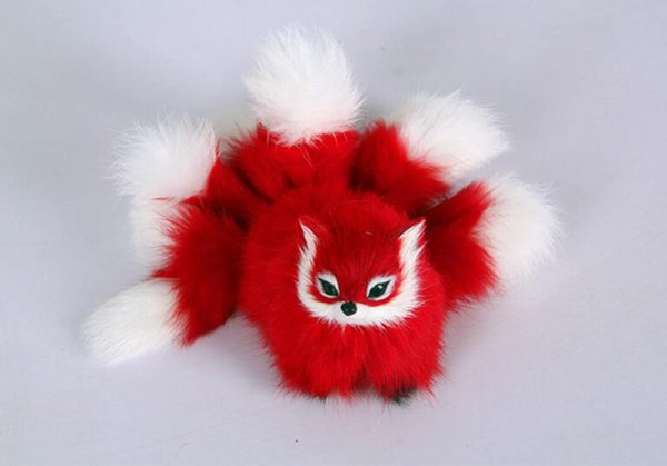 plastic&fur red fox with nine tails hard model about 18x10cm fox stage prop craft home decoration toy gift w0158
